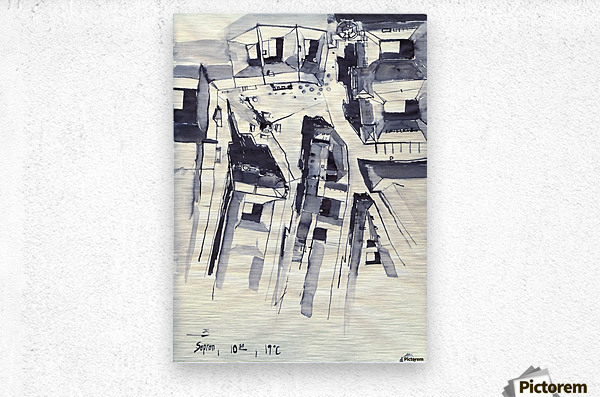 Architectural view in birdeye Indian ink  Metal print