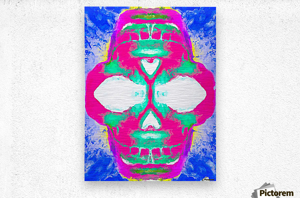 painting pink smiling skull head with blue and yellow background  Metal print