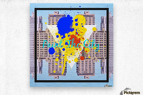 paint the city yellow blue and orange with buildings background  Metal print