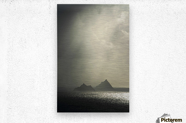 Skellig Islands, Co Kerry, Ireland; Islands In A Rain Shower  Metal print
