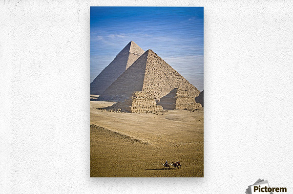 The Pyramids With Two Men On Camels Going By; Cairo,Egypt,Africa  Metal print