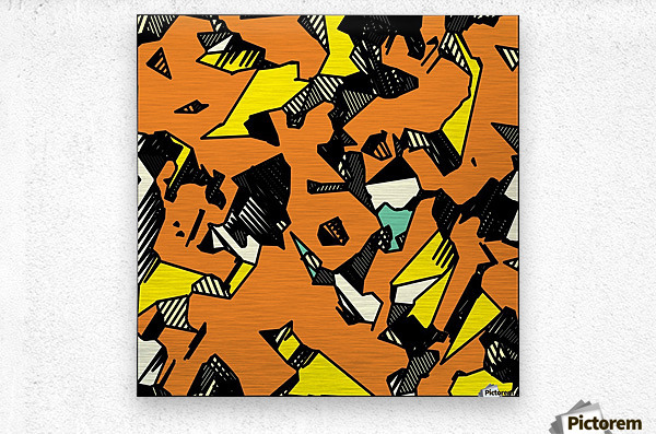 grunge geometric drawing and painting abstract in brown yellow and black  Metal print