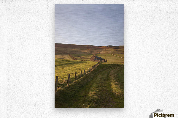 Northumberland, England; A Farm Structure And A Fence Around A Field  Metal print