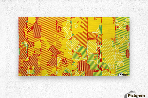 graffiti drawing abstract pattern in yellow brown and blue  Metal print