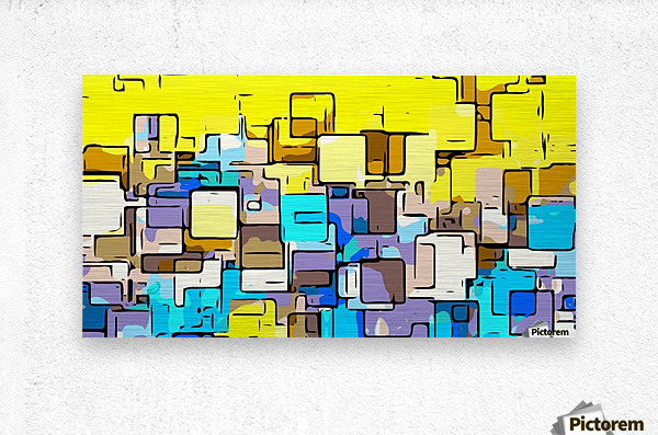 geometric graffiti square pattern abstract in yellow blue and brown  Metal print