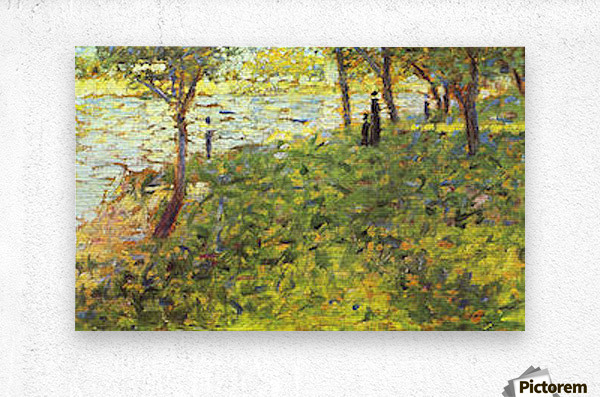 Landscape with figures by Seurat  Metal print