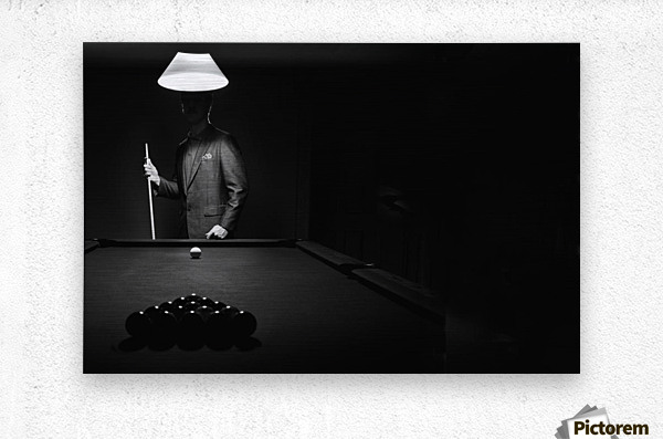; Mystery Pool Player Behind Rack Of Billiard Balls  Metal print