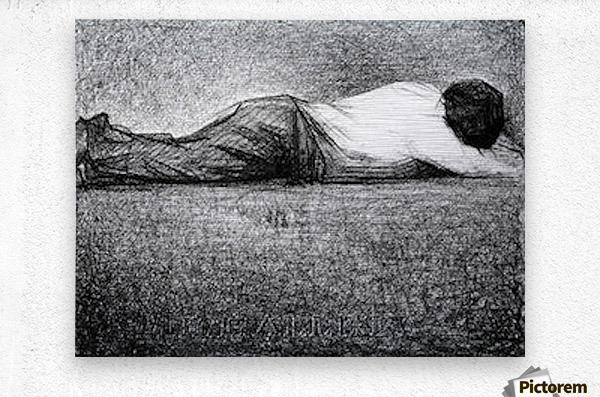 Man sleeping by Seurat  Metal print