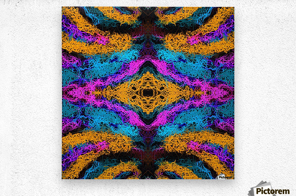 psychedelic graffiti geometric drawing abstract in pink orange blue  Metal print