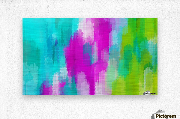 blue pink and green painting abstract background  Metal print