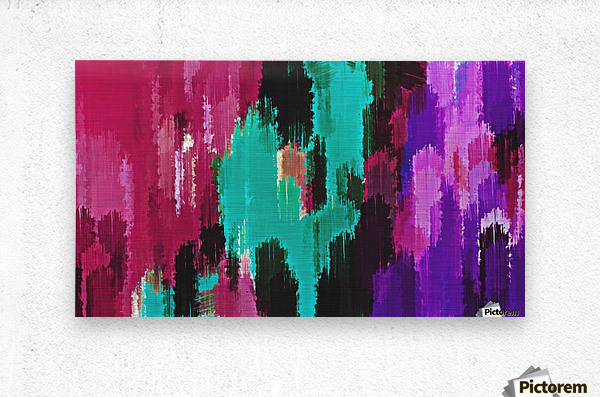 red pink purple green and black painting abstract background  Metal print