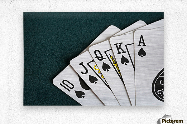 Close-Up Of Blackjack Playing Cards Showing Spades Royal Flush  Metal print