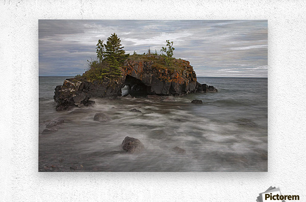 Water Coming Into Shore Around A Rock Formation On Lake Superior; Grand Portage, Minnesota, United States Of America  Metal print