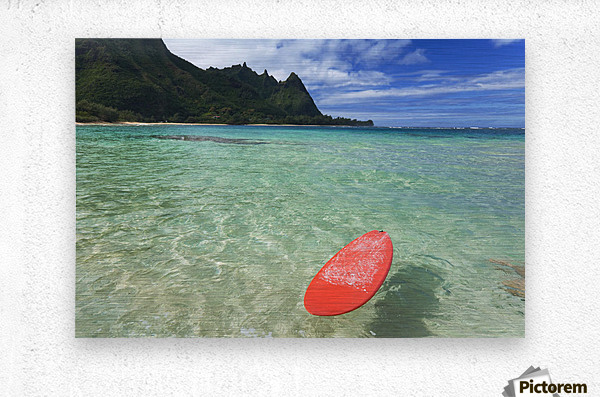 Hawaii, Kauai, Haena Beach Tunnels Beach, Red Surfboard Floating In Shallow Ocean.  Metal print