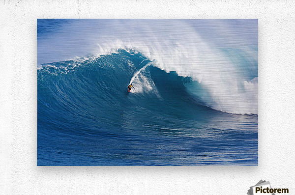 Hawaii, Maui, Peahi (Jaws), Surfer Rides A Giant Wave  Metal print