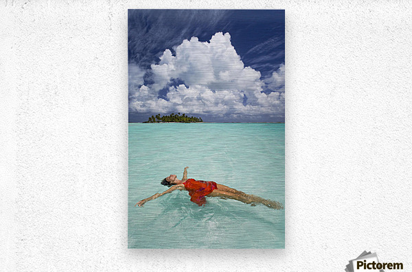 French Polynesia, Woman Floating In Ocean Water.  Metal print