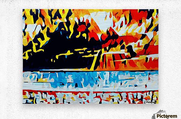 summer beach sunset geometric pattern abstract  Metal print