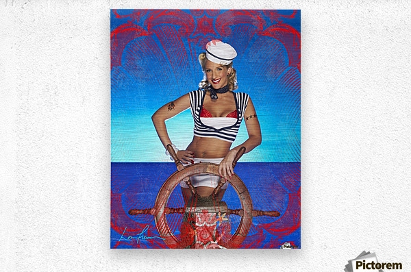 Lou Freeman©  Vintage Pin Up Girls Sailor  Metal print