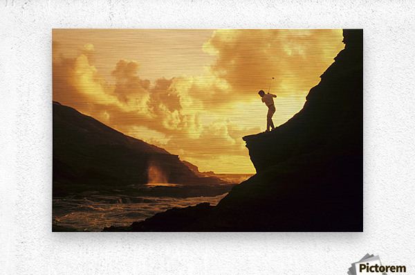 Hawaii, Golfer Standing On A Cliff And Swinging A Golf Club.  Metal print
