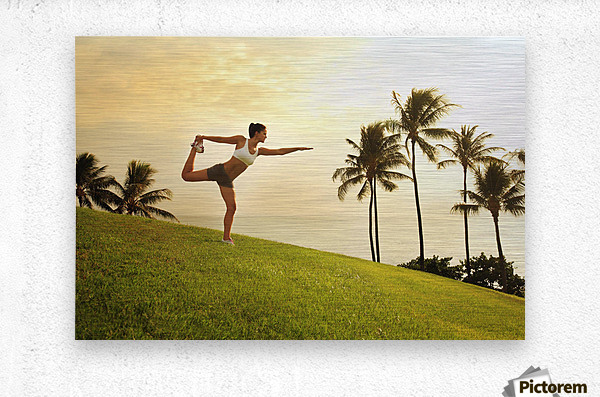 Hawaii, Oahu, Female Doing A Yoga Pose, Stretching On A Hill Overlooking Ocean, Palm Trees And Sunset.  Metal print