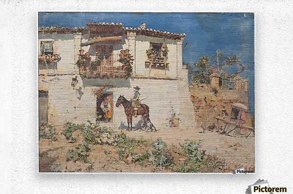 A man on his horse returning home  Metal print