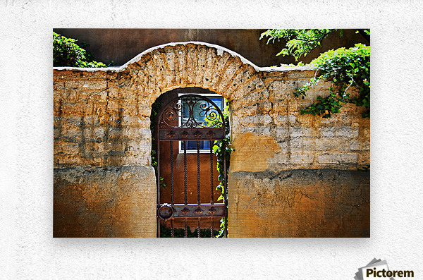 New Mexican Doors, New Mexico, Details Of Old Stone Doorway And Garden.  Metal print