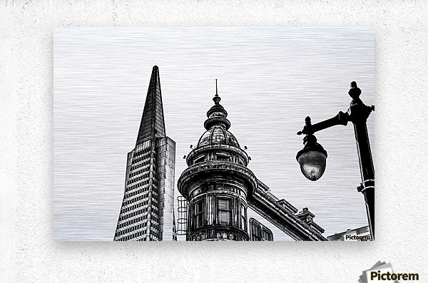 pyramid building and vintage style building at San Francisco, USA in black and white  Metal print