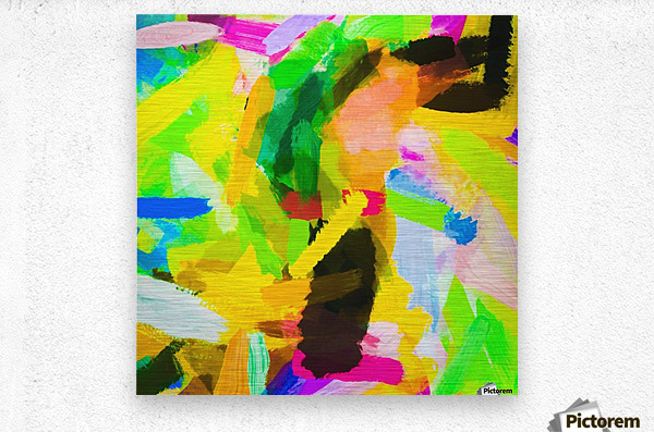 psychedelic splash painting texture abstract in green yellow pink blue  Metal print