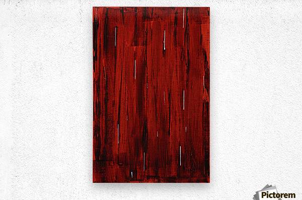 Rain, Abstract Painting In Red And Black (Acrylic Painting).  Impression metal