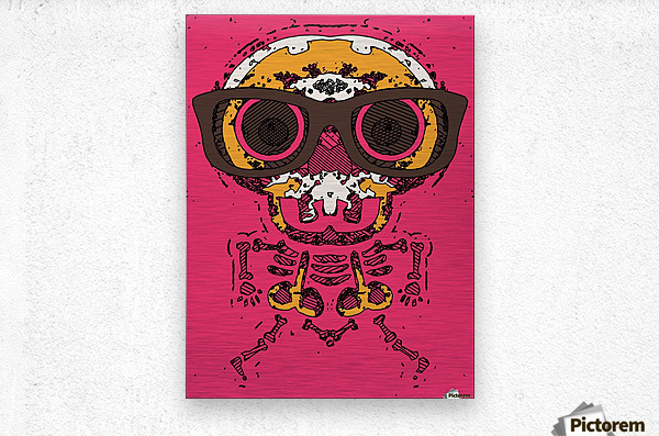 funny skull and bone graffiti drawing in orange brown and pink  Metal print