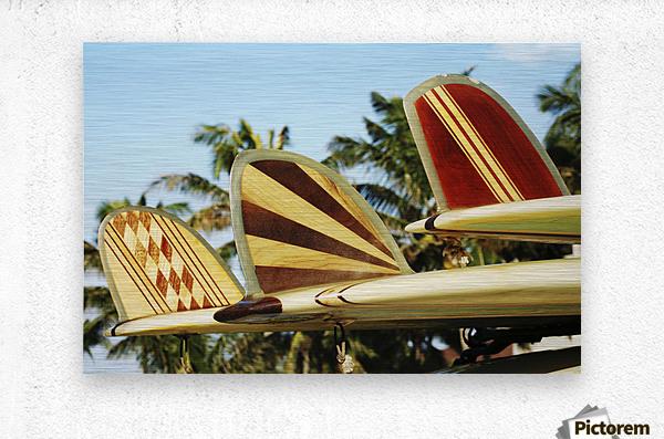 Hawaii, Oahu, Colorful Hawaiian Design Surfboards Fins.  Metal print