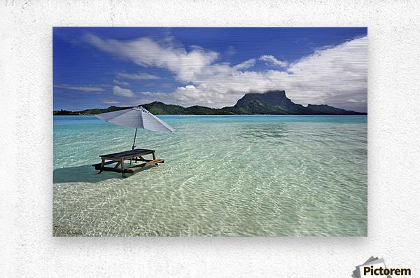 French Polynesia, Tahiti, Bora Bora, Picnic Table And Umbrella In Clear Lagoon Water.  Metal print
