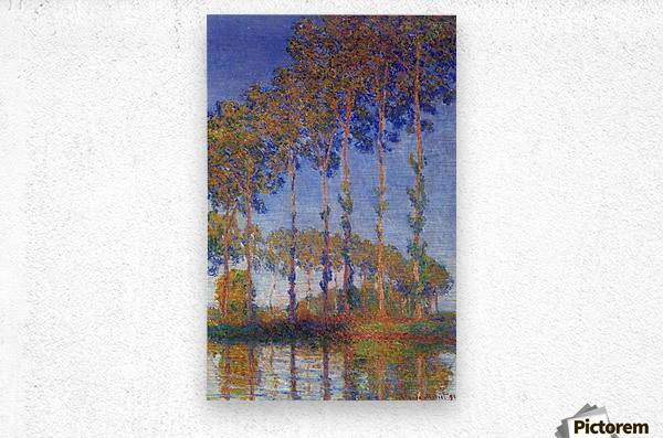Poplars in the Epte, sunset by Monet  Metal print