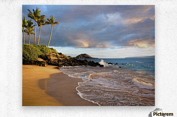 Hawaii, Maui, Makena, Secret Beach At Sunset.  Metal print