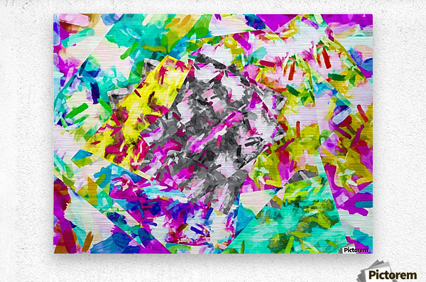 psychedelic splash painting abstract in pink blue yellow green purple  Metal print
