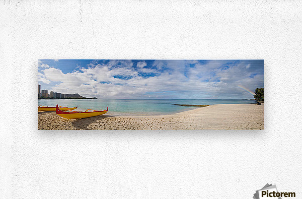 Hawaii, Oahu, Waikiki, Outrigger Canoes On The Beach With A Rainbow And Diamond Head In The Background.  Metal print