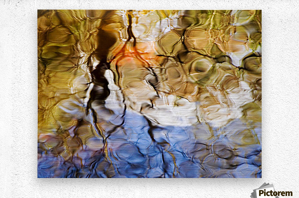 Elementals, Massachusetts, Seekonk, Caratunk Wildlife Refuge, Colorful Glassy Reflections On Water.  Metal print