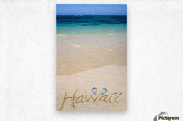 USA, Hawaii, Ocean in background; Kailua, Flipflops and Hawaii written in sand  Metal print
