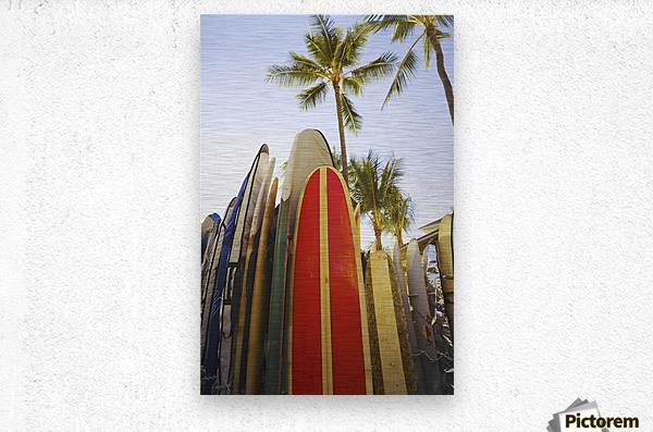 USA, Hawaii, Oahu, Close up view of colorful surfboards in surfboard rack on Waikiki Beach; Waikiki  Metal print