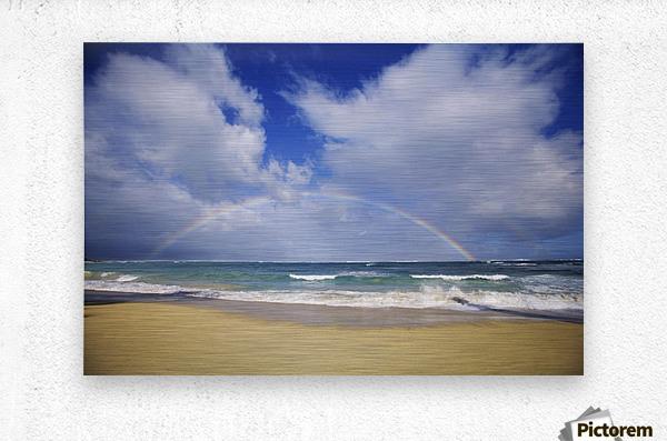 USA, Hawaii, Rainbow at Baldwin Beach; Maui  Metal print
