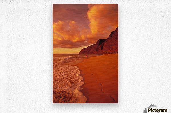 Hawaii, Kauai, Polihale State Park Beach At Sunset, Back View Of Woman Walking Along The Shoreline.  Metal print