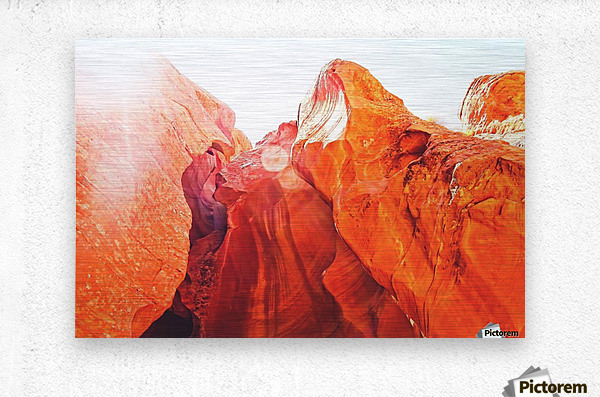 texture of the orange rock and stone at Antelope Canyon, USA  Metal print