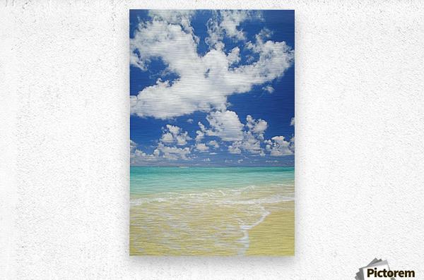 Hawaii, Oahu, Lanikai; Gentle Wave Washing Ashore On Beach, Turquoise Water And Blue Sky.  Metal print