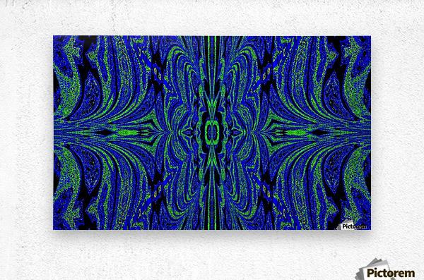 Blue Butterfly in Green  Metal print