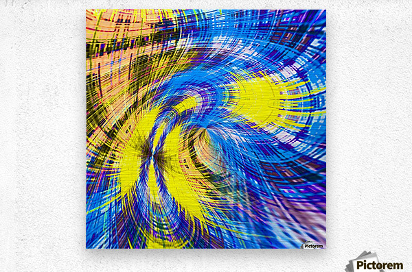 geometric psychedelic splash abstract pattern in blue and yellow  Metal print