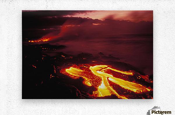 Hawaii, Big Island, Hawaii Volcanoes National Park, Lava Flow Glows In Early Dawn  Metal print