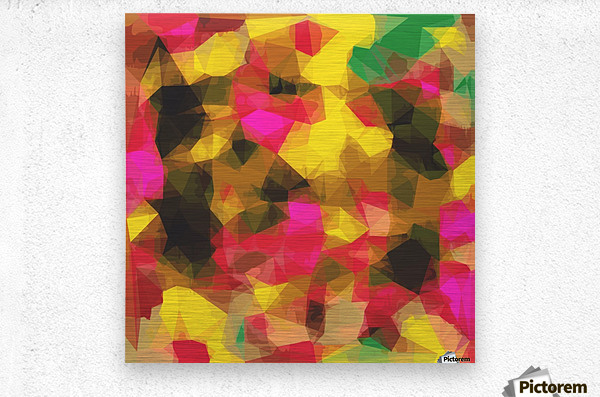 psychedelic geometric polygon shape pattern abstract in pink yellow green  Metal print
