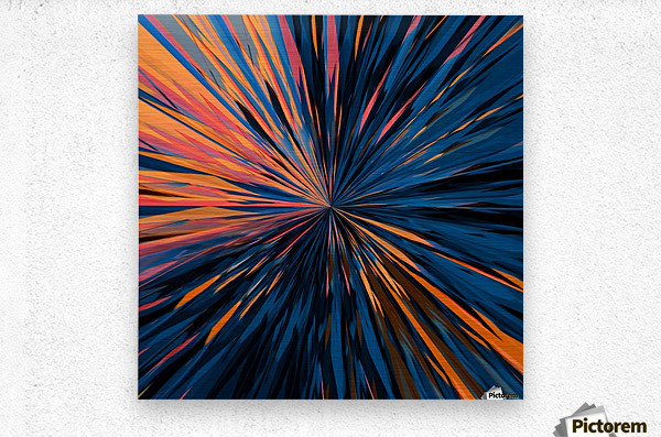psychedelic splash painting abstract pattern in orange brown pink blue  Metal print