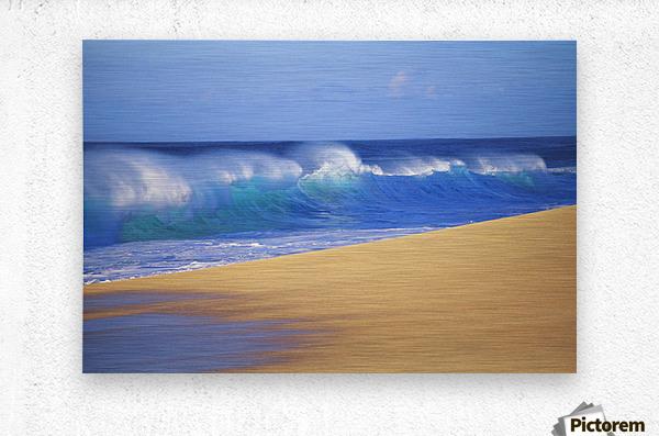 Shorebreak Waves Along Sandy Beach, Blue Sky  Metal print