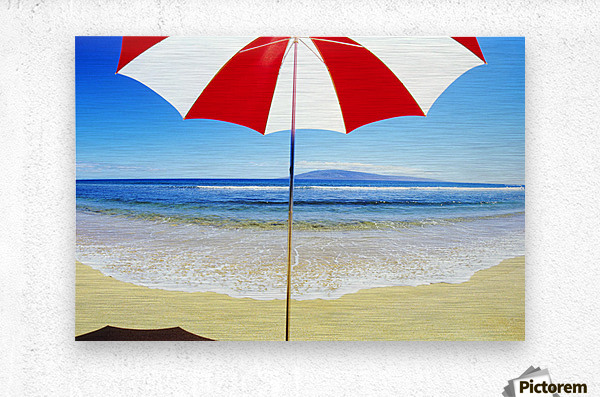 Red And White Umbrella On The Beach, Blue Sky And Ocean  Metal print